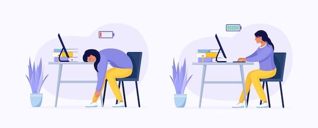 仕事の効率と専門家の燃え尽き症候群。オフィスの生産的な従業員と疲れ果てた労働者。疲れた過労女性とコンピューターで動作するフルおよび低エネルギーバッテリーを持つ幸せでエネルギッシュな女性