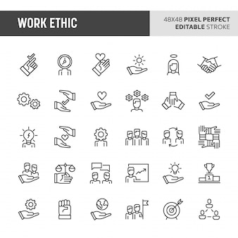 Work ethic  icon set