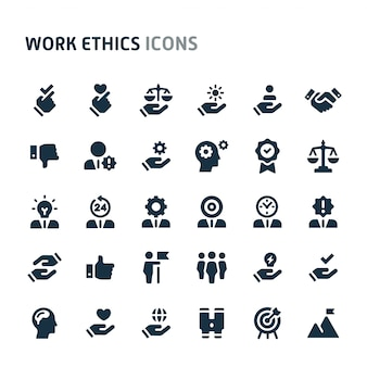 Work ethics icon set. fillio black icon series.
