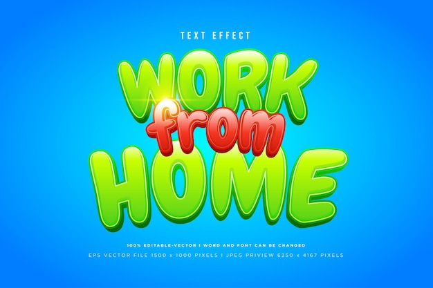 Work from home 3d text effect on blue background