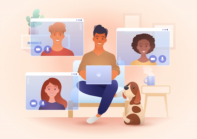 화상 통화 앱을 통해 회의하는 젊은 웃는 사람들과 가정 및 새로운 일반 개념 그림에서 작동합니다.