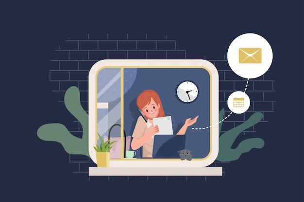 Работа из дома у окна. женщина оставайтесь дома и работайте с ноутбуком и разговариваете по телефону.