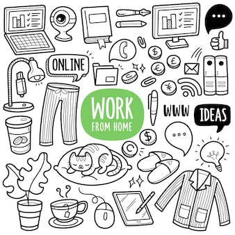 Work from home black and white doodle illustration