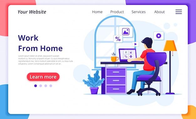 Концепция работы из дома, человек, сидящий за столом и работающий на ноутбуке, сидеть дома, карантин во время эпидемии коронавируса. шаблон оформления целевой страницы сайта