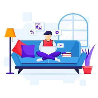 집 개념에서 일하고, 노트북을 사용하여 소파에 앉아있는 남자는 코로나 바이러스 전염병 일러스트레이션 동안 집에서 격리됩니다.