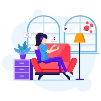 가정 개념에서 일, 소파 듣는 음악에 앉아있는 여자