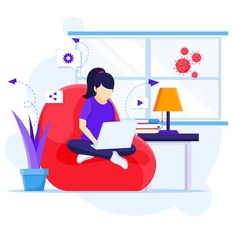 가정 개념에서 작업, 노트북을 사용하여 소파에 앉아있는 여자, 격리에 집에 머물