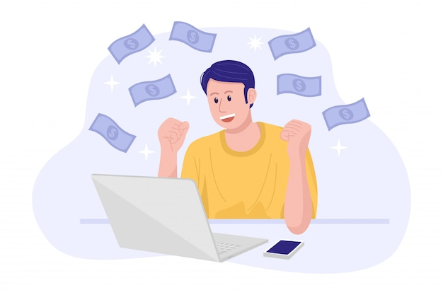 Работа из дома концепции, молодой счастливый человек, зарабатывать деньги в интернете.