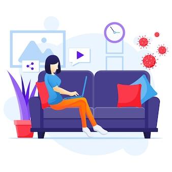 집 개념에서 일하고, 스마트 폰을 사용하여 소파에 앉아있는 awomen은 코로나 바이러스 전염병 일러스트레이션 동안 집에서 격리됩니다.