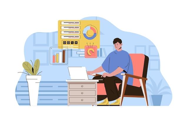 Работа на дому концептуальный сотрудник работает онлайн фрилансером в домашнем офисе