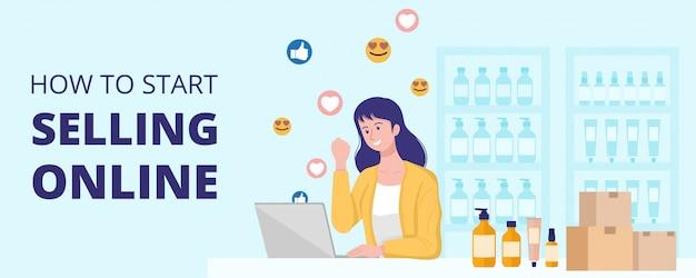 가정 개념, 집에서 온라인으로 제품을 판매하는 행복 한 여자에서 작동합니다.