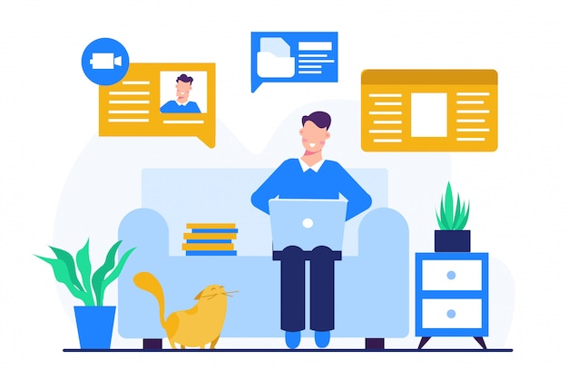 Work from home concept illustration for landing page template