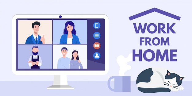 Work from home concept. illustration of people at video conference on computer.