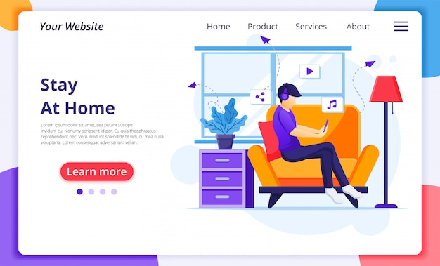 Work from home concept, a man sitting on sofa listening music, stay at home on quarantine during the coronavirus epidemic. website landing page design template