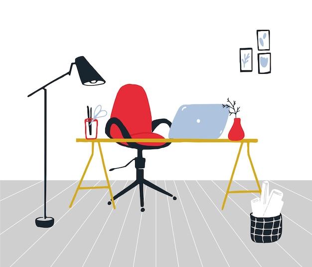 재택 개념에서 작동합니다. 빨간색 회전 의자, 노트북이 있는 책상, 현대적인 스탠딩 램프 및 종이 바구니가 있는 조직화된 작업 공간. 벽에 액자 예술입니다. 깨끗 한 미니멀 인테리어, 벡터 일러스트 레이 션입니다.