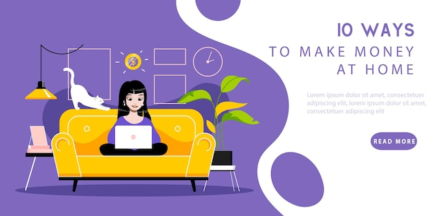 Работа из дома концепции. целевая страница веб-сайта. фрилансер женщина работает на ноутбуке. удаленное рабочее место с инструментами, сидя на диване. веб-страница мультфильм линейной структуры плоский стиль. векторные иллюстрации.