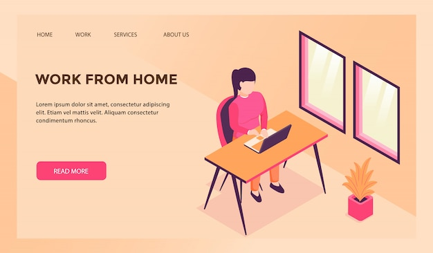 Work from home concept for website template or landing homepage