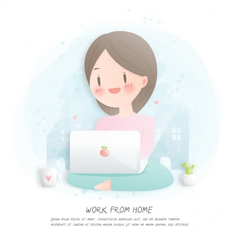 Work from home concept with girl using laptop.