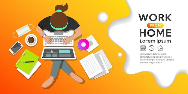 Work from home concept woman sitting work computer top view banner design on orange