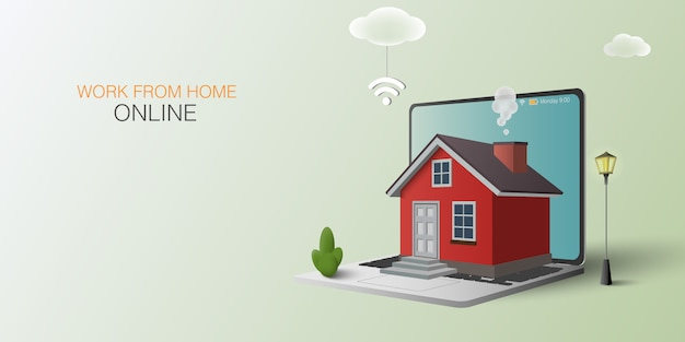 가정 개념에서 작동합니다. 온라인 작업. 노트북과 빨간 집입니다.