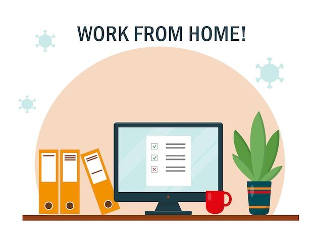 집에서 일하기 책상과 컴퓨터가 있는 직장 홈 오피스 프리랜서 또는 온라인 작업