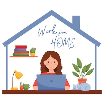 Работа из дома концепции дизайна. девушка работает на ноутбуке в своем доме.