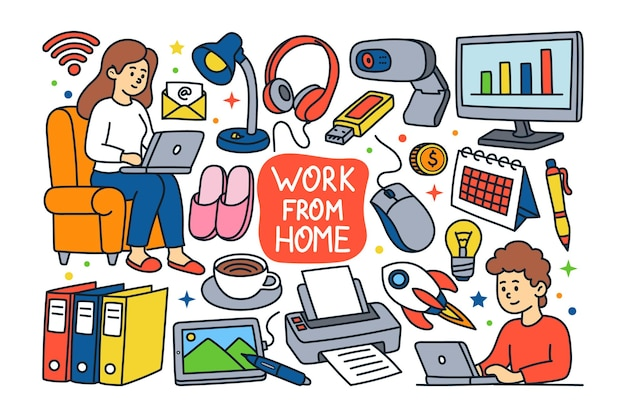 Work from home doodle illustration
