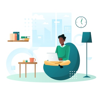 Work from home flat illustration