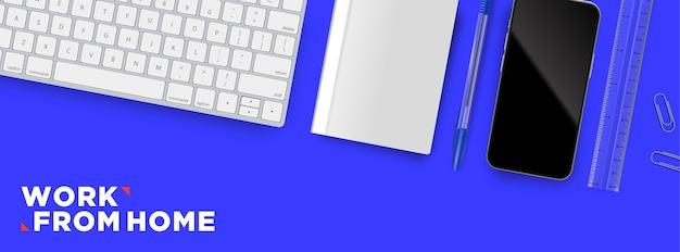 Работа из дома плоская планировка рабочего пространства объект иллюстрации фона