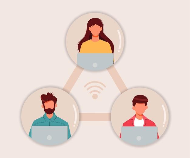 在宅勤務のフリーランサーオンライン会議のコンセプト