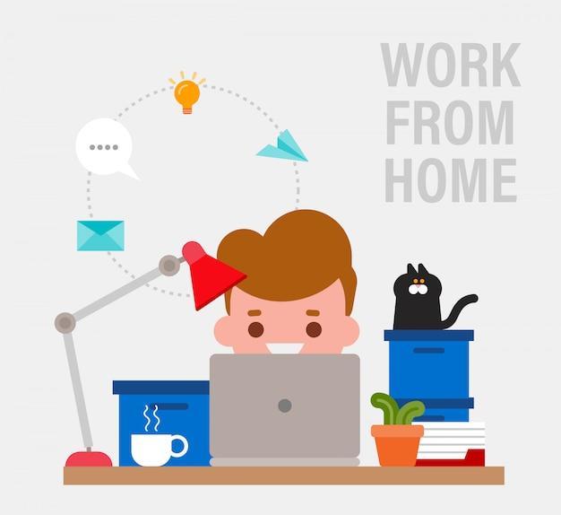 在宅勤務。ラップトップコンピューターでリモートで作業して幸せな若い男。ベクトル漫画のフラットスタイルのイラスト。