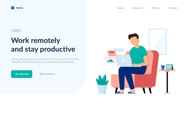 Work from home header illustration concept, people working remotely on laptop. freelance work