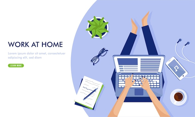 Work from home illustration template