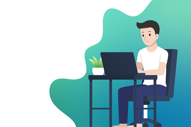 Work from home illustration with copy space, man working with laptop on desktop, flat design.