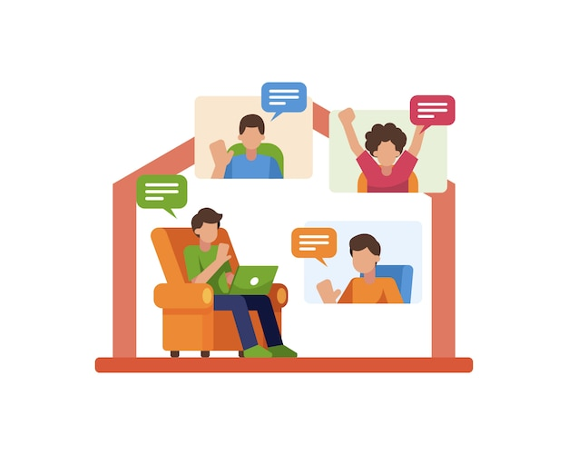 Work from home illustration with a man doing video conference or online meeting with his friends or colleague
