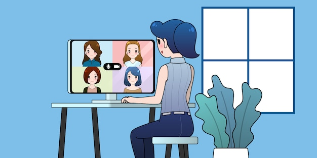 Work from home illustration, woman group video conference, online communication concept.