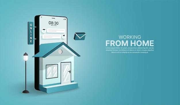 Работа из дома на смартфоне в форме дома концепция работы в интернете и социального дистанцирования