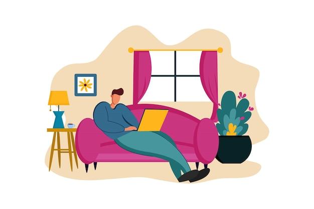 소파 웹 그림에서 집에서 일하기