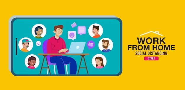 Work from home and online meeting flat design illustration