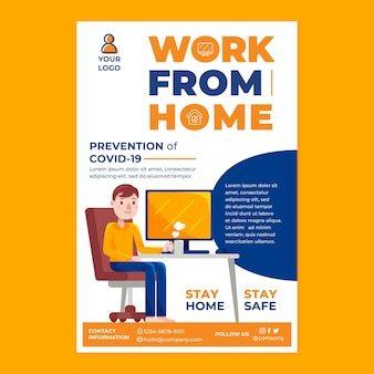 Work from home poster campaign in flat design style