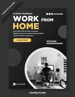 Work from home poster   design premium