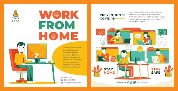 Work from home promotion feed instagram in flat design style