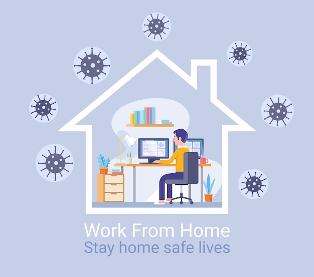 Work from home protection from virus concept.