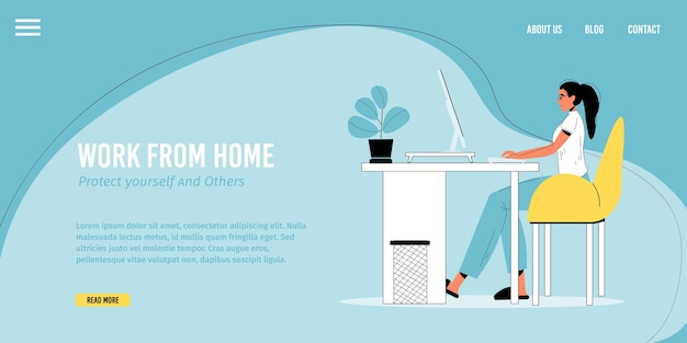 Work from home, remote job occupation. young woman working online on computer making money sitting at desk on room. stay home, protect yourself people promotion. landing page  template