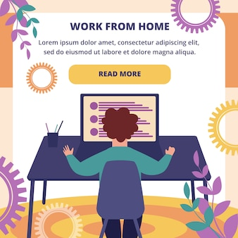 Work from home square banner. freelance online job