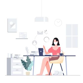 Работа на дому остаться дома телеконференции для бизнеса заблокирован, концепция вспышки коронавируса. плоский дизайн абстрактных людей.