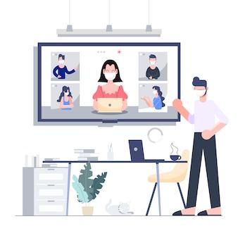 ロックされたビジネス、コロナウイルスの大流行の概念のための在宅電話会議での在宅勤務。フラットなデザインの抽象的な人々。
