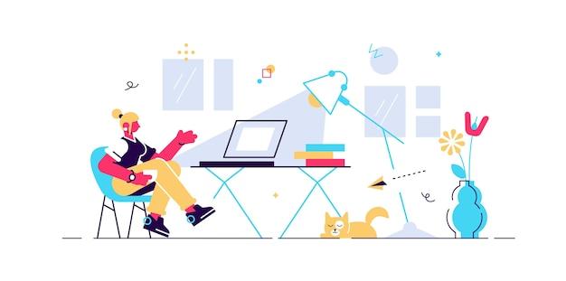 집, 작은 사람 그림에서 일하십시오. 책상, 의자 및 컴퓨터가있는 프리랜서 원격 사무실 작업장 내부 설정. 일상 생활과 자유를 즐기는 소녀 어.