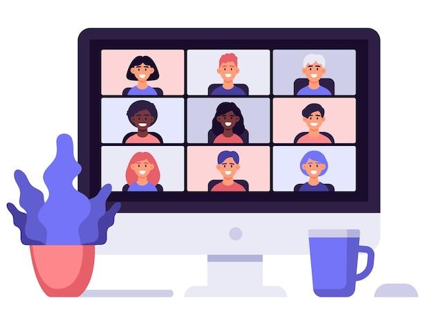 在宅勤務。ビデオ会議のオンライン会議、コンピューター画面でチャットしている同僚、