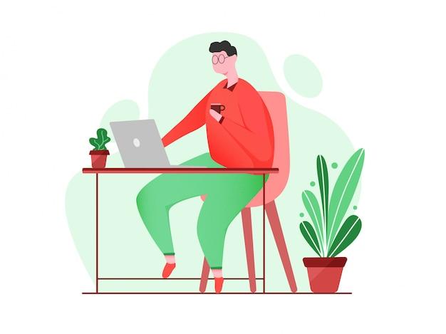 Работа из дома, молодой человек, работающий на компьютере за партой